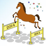 Festive horse jumping. Vector illustration of Christmas horse jumping over hurdles Stock Images