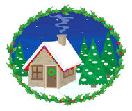 Festive House. Cute house with Christmas lights in a snowy night, with mistletoe frame around it. Eps10 Stock Image