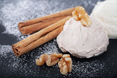 Festive icecream with cinnamon Stock Photo
