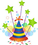 Festive Icon. Confetti and party hat with green stars above it. Eps10 Royalty Free Stock Image