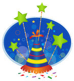 Festive Icon With background. Party hat with green stars above it and a blue background. Eps10 Royalty Free Stock Photography