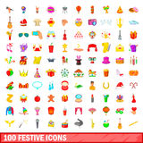 100 festive icons set, cartoon style Stock Photos
