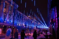 Festive illumination on Bolshaya Dmitrovka Street in Moscow at n Stock Photography