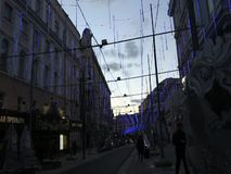 Festive illumination on Bolshaya Dmitrovka Street in Moscow stock footage
