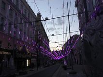 Festive illumination on Bolshaya Dmitrovka Street in Moscow stock video footage