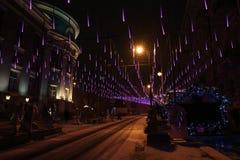 Festive illumination on Bolshaya Dmitrovka Street in Moscow Stock Image