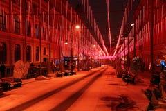 Festive illumination on Bolshaya Dmitrovka Street in Moscow Royalty Free Stock Images