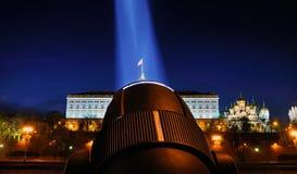 Festive illumination of the Moscow Kremlin at night. Stock Image
