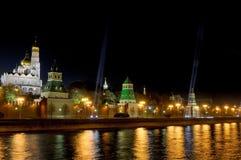 Festive illumination of the Moscow Kremlin at night. Royalty Free Stock Photos