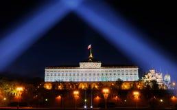 Festive illumination of the Moscow Kremlin at night. Royalty Free Stock Image