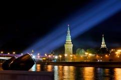 Festive illumination of the Moscow Kremlin at night. Stock Photos