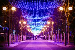 Festive Illumination On Street In Gomel. New Year Stock Photo