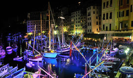 Festive illuminations in port Camogli, Italy. Festive illuminations of ships in port Camogli, Italy assignment files stock images