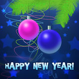 Festive  illustration. Congratulation post card with New Year Royalty Free Stock Image