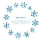 Festive illustration with copy space and snowflakes as. Festive illustration with copy space and snowflakes around it in circle shape on white background Stock Photo