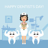 Festive illustration. Greeting card. International day of the dentist. Dentist doctor with a bouquet of flowers.. Two healthy beautiful white teeth. The cute Royalty Free Stock Photo