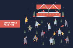 Festive illustration with image of people doing shopping on background of Christmas fair and snow-covered stalls. People walk with children at festive fair vector illustration