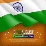 Festive illustration of independence day in India. National traditional holiday celebrated on August 15. Background with realistic indian flag and ashoka wheel royalty free illustration
