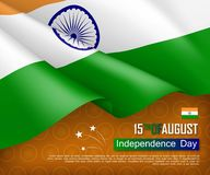Festive illustration of independence day in India. National traditional holiday celebrated on August 15. Background with realistic indian flag and ashoka wheel stock illustration