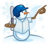 Snowman Baseball or Softball Player Calling His Shot royalty free illustration
