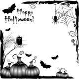 Festive illustration on theme of Halloween. Black corner frames Royalty Free Stock Photo