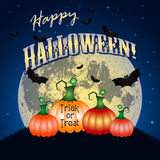 Festive illustration on theme of Halloween. Moon in dark night. Holiday illustration on theme of Halloween. Pale moon in night against dark-blue sky and pumpkins Stock Images