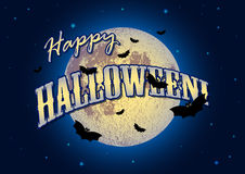 Festive illustration on theme of Halloween. Moon in dark night. Holiday illustration on theme of Halloween. Pale moon in night against dark-blue sky. Wishes for Royalty Free Stock Photography