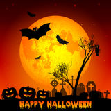 Festive illustration on theme of Halloween. Yellow moon in night. Holiday illustration on theme of Halloween. Yellow moon in night on cemetery. Wishes for Happy Stock Image