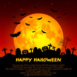 Festive illustration on theme of Halloween. Yellow moon in night. Holiday illustration on theme of Halloween. Yellow moon in twilight on cemetery. Wishes for Royalty Free Stock Photos