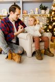 Festive image of happy son and dad on armchair. At background of Christmas decorations Stock Photography