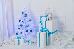 Festive interior decoration for Christmas in blue and white Royalty Free Stock Photography