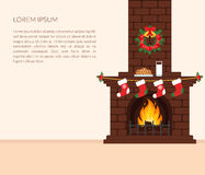 Festive interior of the room. Brick fireplace with fire, Christmas stockings and wreath, the milk and cookies snack for Santa Clau. S. A wall clock Royalty Free Stock Photos