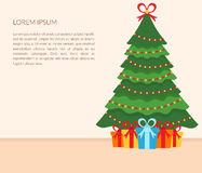 Festive interior of the room. Christmas tree, gifts, garland, and text. Flat design. Vector. Banner. Festive interior of the room. Christmas tree, gifts and Royalty Free Stock Photos