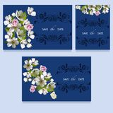 A festive invitation on blue. A festive invitation with a bouquet of flowers of roses and cherries on a blue background and a decorative element Royalty Free Stock Images