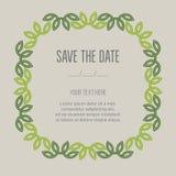 Festive invitation card with linear deciduous frame. Vector illustration Royalty Free Stock Photos