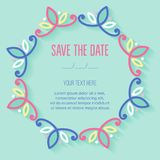 Festive invitation card with linear deciduous frame. Vector illustration Stock Images