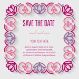 Festive invitation card. With linear flowers frame. Vector illustration Stock Photography