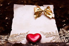 Festive invitation or congratulation with art fur Stock Photos