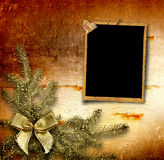 Festive invitation or greeting with firtree Stock Photos