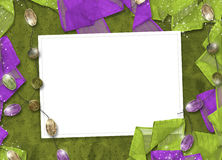 Festive invitation or greeting with ribbons. And beads Stock Images
