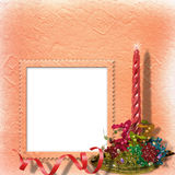 Festive invitation or greeting with ribbons. And beads Royalty Free Stock Photos