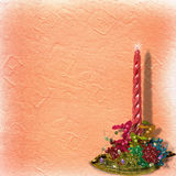 Festive invitation or greeting with ribbons. And beads Royalty Free Stock Image
