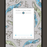 Festive invitation with a picture of lizards Stock Photography