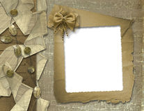 Festive invitation with ribbons and beads. Festive invitation or greeting with ribbons and beads Stock Photography