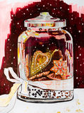A festive jar with ginger cookies on a dark background with fall. Ing snowflakes. Sketch markers and gold paint. Christmas still life for the creation of comfort Royalty Free Stock Photography