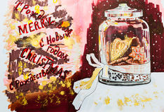A festive jar with ginger cookies on a dark background with fall. Ing snowflakes. Sketch markers and gold paint. Christmas still life for the creation of comfort Stock Photo