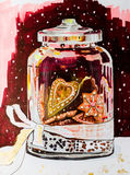 A festive jar with ginger cookies on a dark background with fall. Ing snowflakes. Sketch markers and gold paint. Christmas still life for the creation of comfort Stock Images