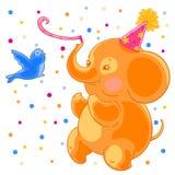 Festive joyful cute elephant and the bird are having fun. Birthday and confetti. Royalty Free Stock Photo