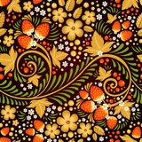 Festive khokhloma seamless pattern. With traditional floral elements - berries and leaves Royalty Free Stock Image