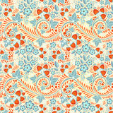 Festive khokhloma seamless pattern. With traditional floral elements - berries and leaves royalty free illustration